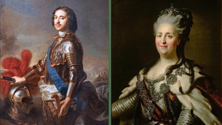 Tsar Pierre Le Grand et Catherine II