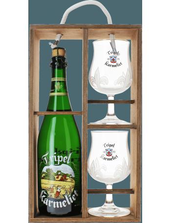 Coffret Tripel Karmeliet - Bois (1 bière 75cl 2 verres)
