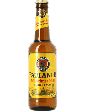 A bottle of Paulaner Hell
