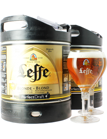 Leffe Blonde 6-litre PerfectDraft Keg - 2 Pack with 2 Leffe Glasses