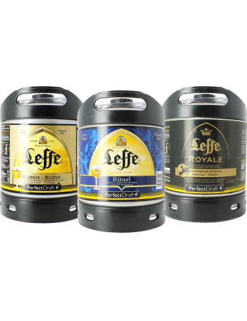 Assortiment 3 fûts 6L Leffe Blonde  Leffe Rituel  Leffe Royal
