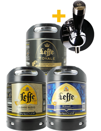 Assortiment 3 fûts 6L Leffe Blonde - Leffe Rituel - Leffe Royal