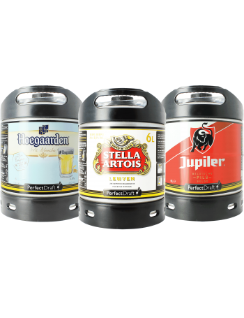 Assortiment 3 fûts 6L Hoegaarden - Stella Artois - Jupiler