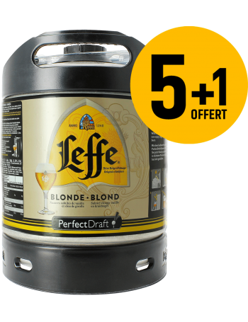 Pack 5 fûts 6L de Leffe blonde + 1 Offert
