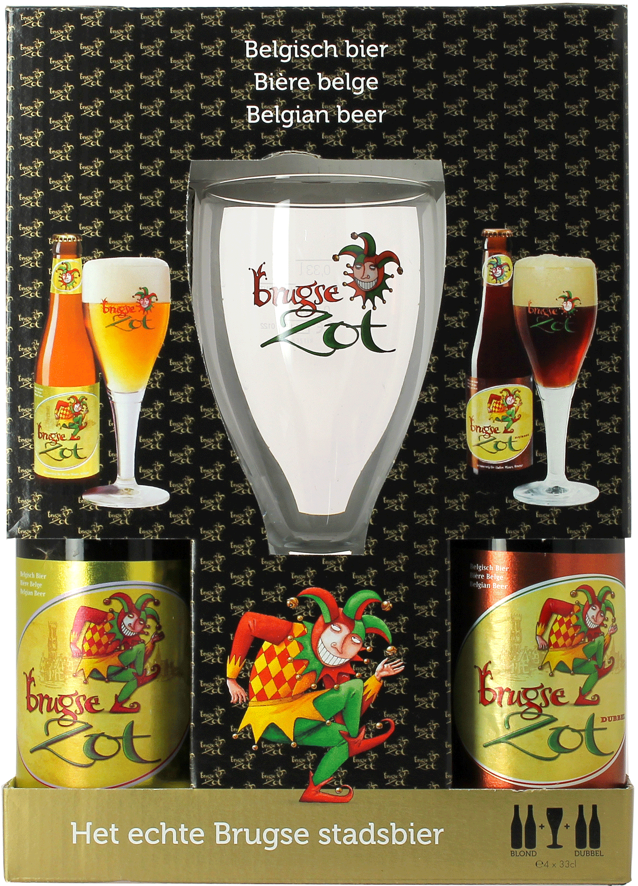Bi/ère 1 verre Coffret Brugze zot 4 bieres