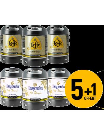 Assortiment 3 fûts 6L de Leffe blonde et 3 fûts 6L Hoegaarden (dont 1 offert)