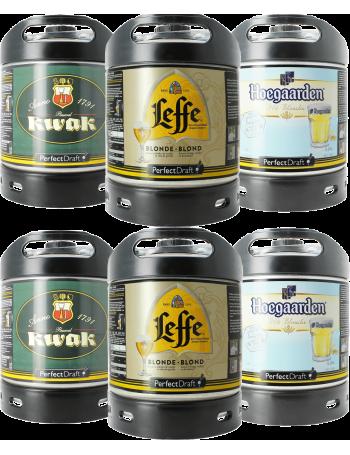Assortiment 6 fûts : Leffe Blonde, Hoegaarden, Kwak
