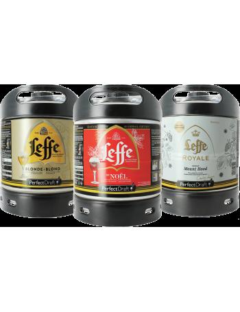 Assortiment 3 fûts 6L Leffe Blonde - Leffe de Noël - Leffe Royale Mount Hood