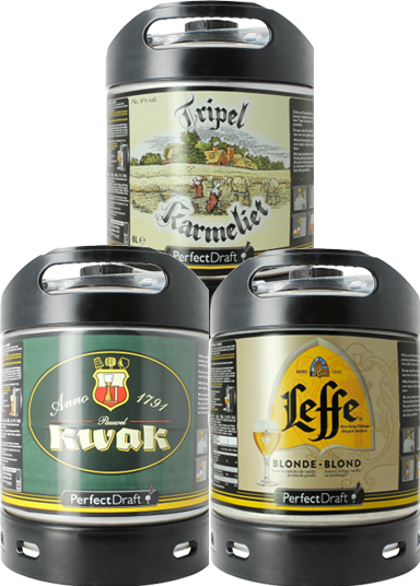Barriles PerfectDraft de 6L Leffe Blonde, Kwak, Tripel Karmeliet - Pack x3