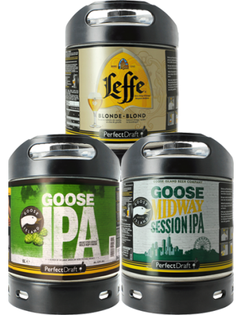 Assortiment 3 fûts 6L Goose Island IPA - Goose Midway - Leffe Blonde