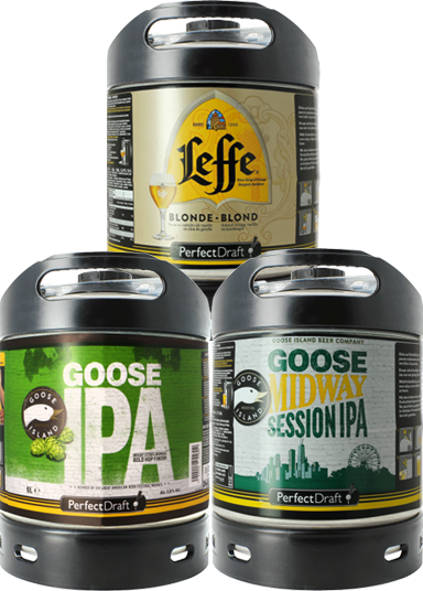 Pack 3 barriles PerfectDraft 6L: Goose Island IPA - Goose Midway - Leffe Blonde