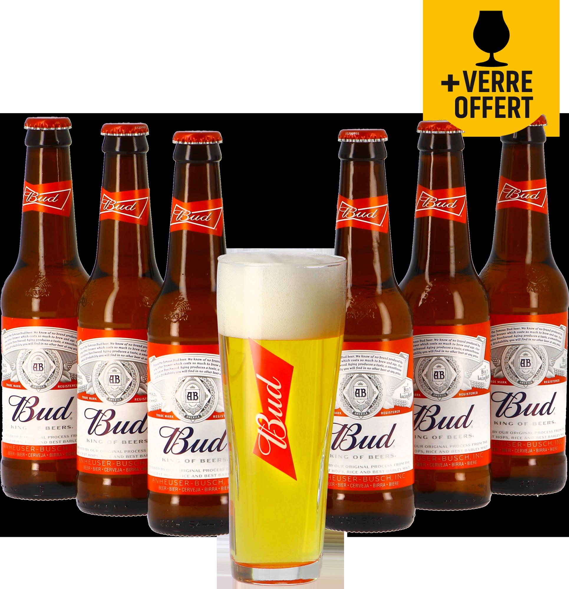 Budweiser Bud 6 pack + Vaso de cerveza Budweiser gratis