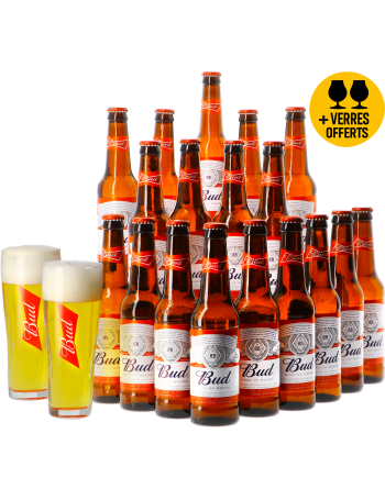 Assortiment Bud 18 bières et 2 verres offerts