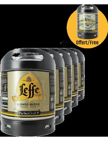 Pack 5 fûts 6L de Leffe blonde + 1 fût Tripel Karmeliet Offert
