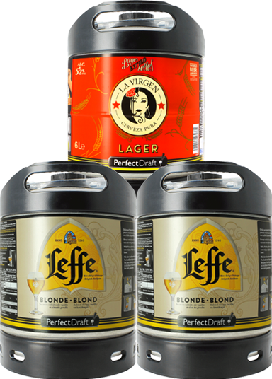 Pack 3 barriles 6L PerfectDraft : 2 Leffe Blonde - 1 La Virgen Madrid Lager