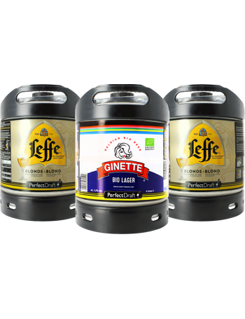 Pack 3 barriles 6l PerfectDraft: 2 Leffe Blonde + 1 Ginette Lager