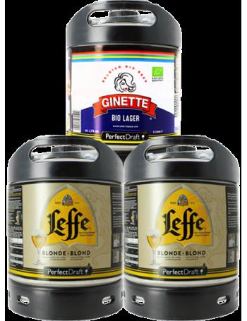 Assortiment 3 fûts 6L : 2 Leffe Blonde - 1 Ginette Lager