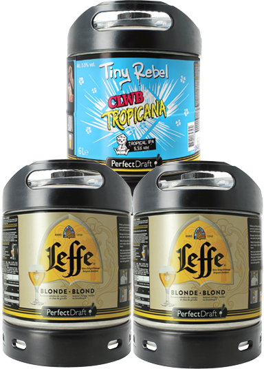 Barriles 6L Pack x3: 2 Leffe Blonde - 1 Tiny Rebel Clwb Tropicana