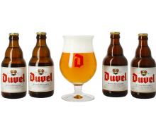 Coffret Duvel 4 x 33 cl + 1 verre