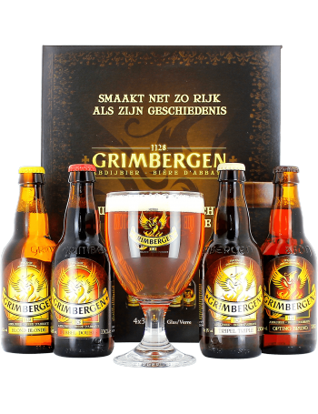 coffret cadeau grimbergen 4 bi re d 39 abbaye 1 verre grimbergen. Black Bedroom Furniture Sets. Home Design Ideas