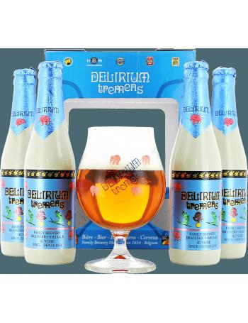Coffret Delirium Tremens (4 bières 1 verre)