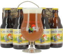 Coffret Chouffe blonde (4 bières, 1 verre)